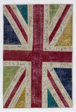 122x183 cm British Flag Union Jack Design Multicolor Patchwork Rug