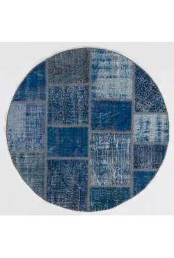 Circular Round Navy Blue Color PATCHWORK Rug