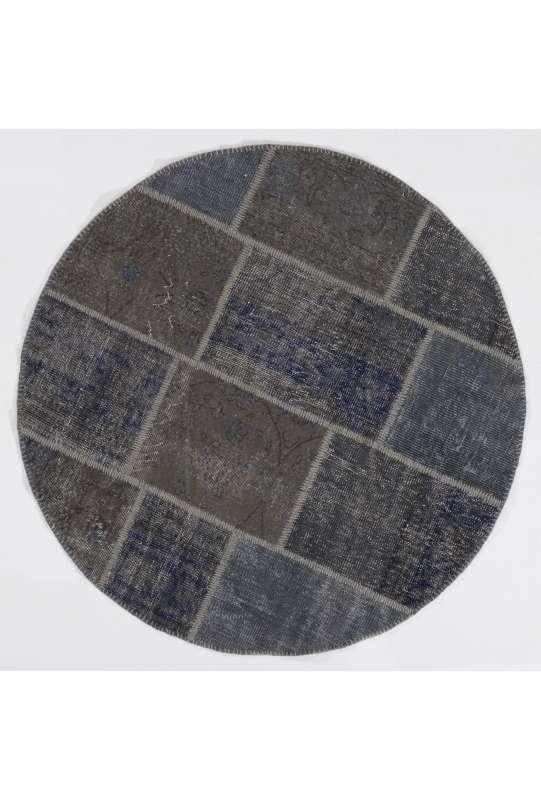 Circular Round Denim Blue Color PATCHWORK Rug