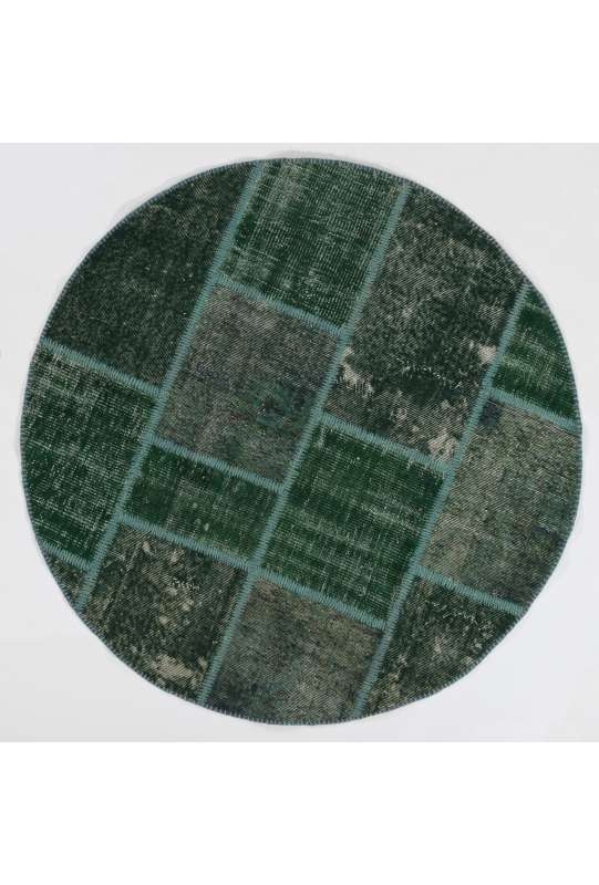 Circular Round Green Color PATCHWORK Rug