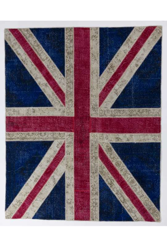 245x305 cm British Flag Union Jack Design Multicolor PATCHWORK RUG