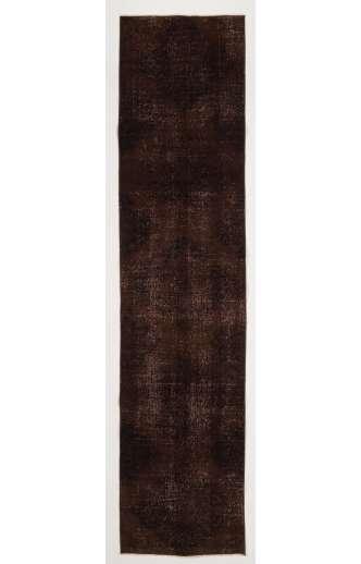 "Overdyed Runner Rug 2'5"" x 10'7"" (75 x 325 cm) Handmade Vintage Turkish Rug, Brown Overdyed Runner Rug"