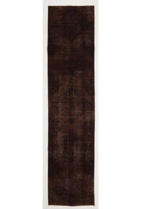 "Overdyed Runner Rug 2'5"" x 10'7"" (75 x 325 cm) Handmade Vintage Turkish Rug, Brown Overdyed Runner Rug"