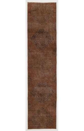 "Overdyed Runner Rug 2'5"" x 10'8"" (75 x 330 cm) Handmade Vintage Turkish Rug, Brown Overdyed Runner Rug"