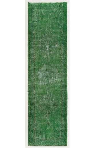 Overdyed Runner Rug 3' x 11' (90 x 335 cm) Handmade Vintage Turkish Rug, Green Overdyed Runner Rug