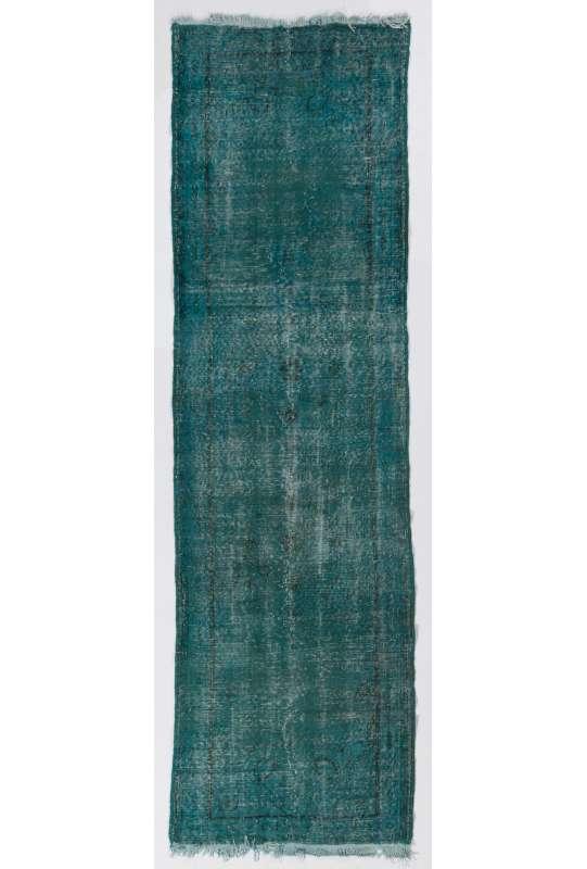 """Turquoise Runner Rug, 2'10"""" x 10'2"""" (88 x 310 cm) Turquoise Blue Color Vintage Overdyed Handmade Turkish Runner Rug, Blue Overdyed Runner Rug"""