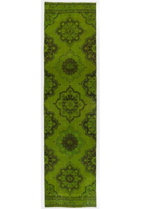 """Green Runner Rug, 3'2"""" x 12'6"""" (98 x 382 cm) Green Color Vintage Overdyed Handmade Turkish Runner Rug, Green Overdyed Runner Rug"""