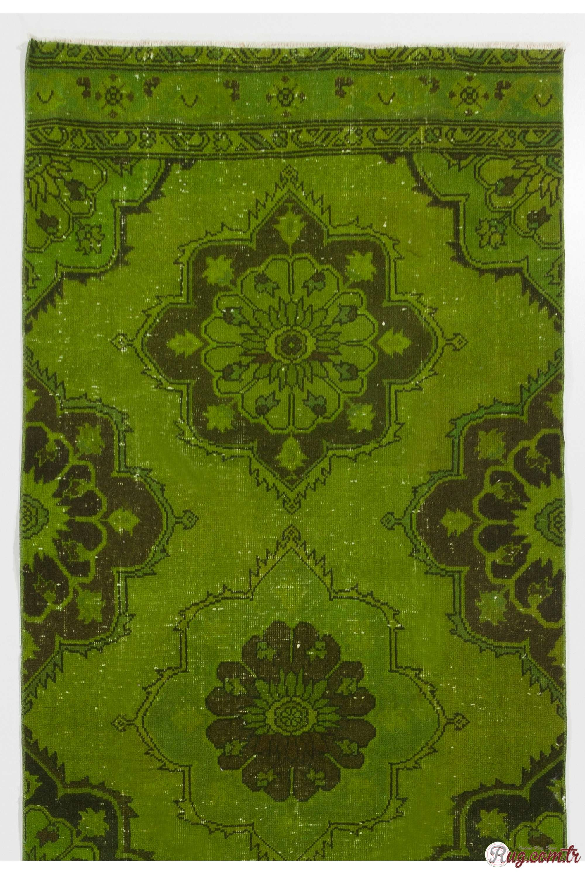 Green Rug Green Color Vintage Overdyed Handmade Turkish