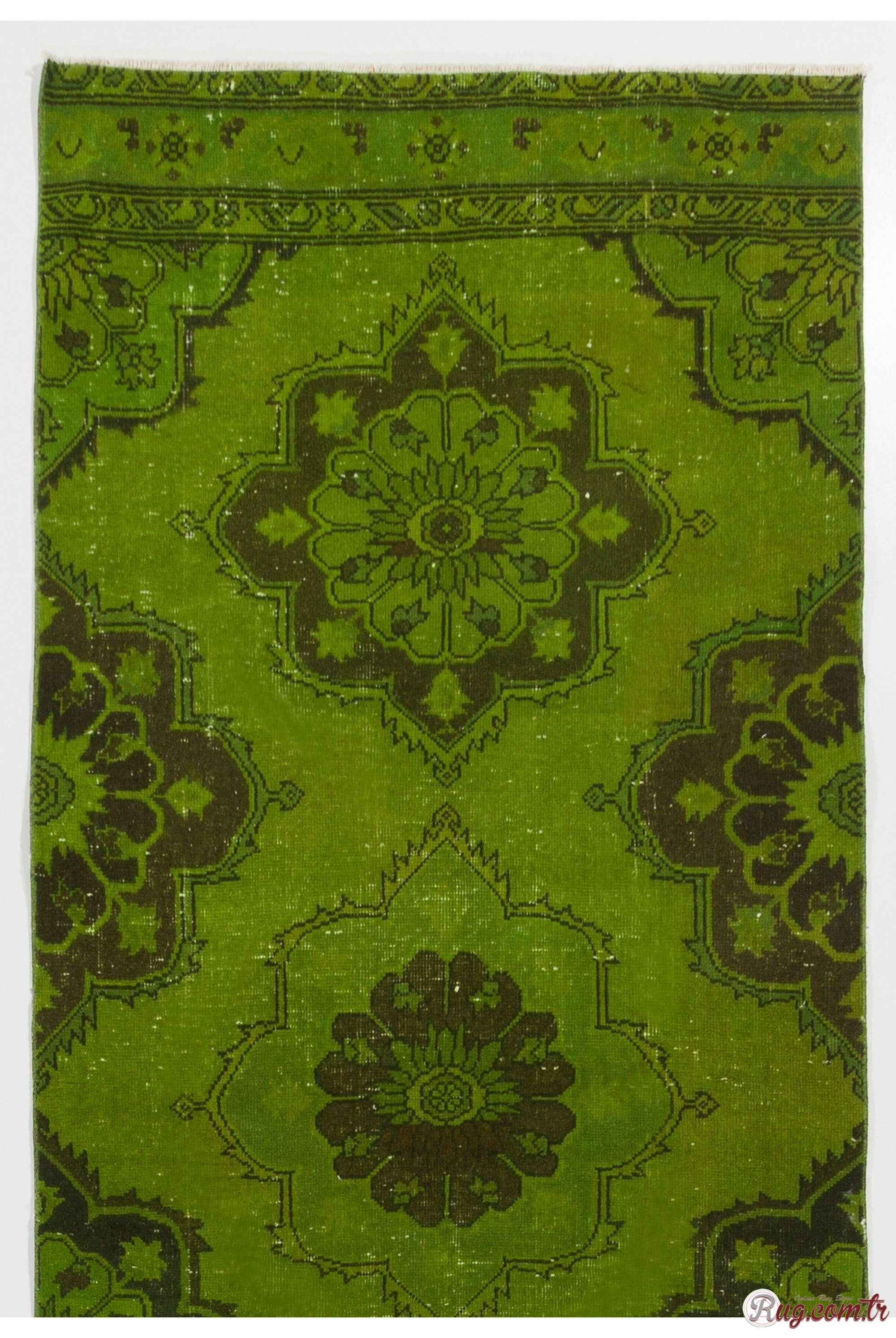 Green Rug Green Color Vintage Overdyed Handmade Turkish