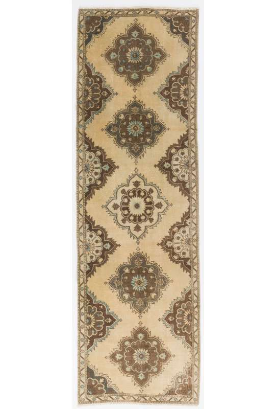 "Antique Washed Runner Rug, 3'6"" x 11'7"" (108 x 354 cm) Beige and Brown Color Vintage Overdyed Handmade Turkish Runner Rug, Turkish Overdyed Runner Rug"