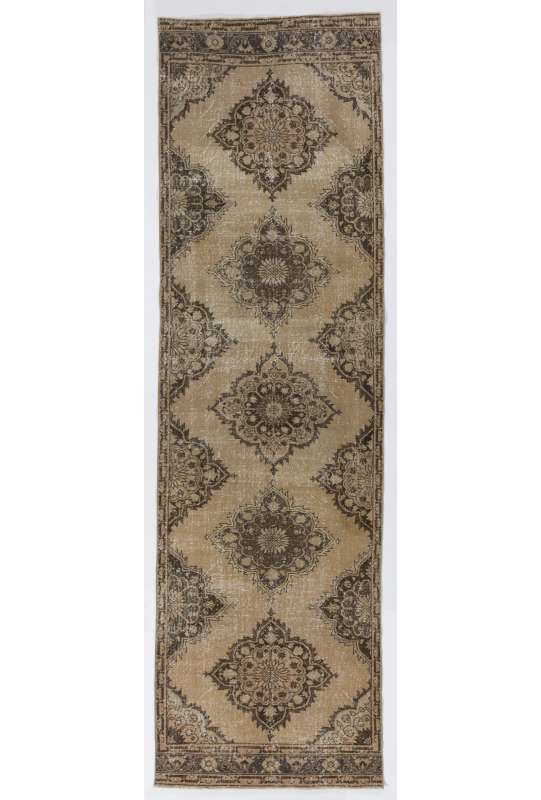 "Antique Washed Runner Rug, 3'9"" x 12'9"" (115 x 390 cm) Beige and Brown Color Vintage Overdyed Handmade Turkish Runner Rug, Turkish Overdyed Runner Rug"
