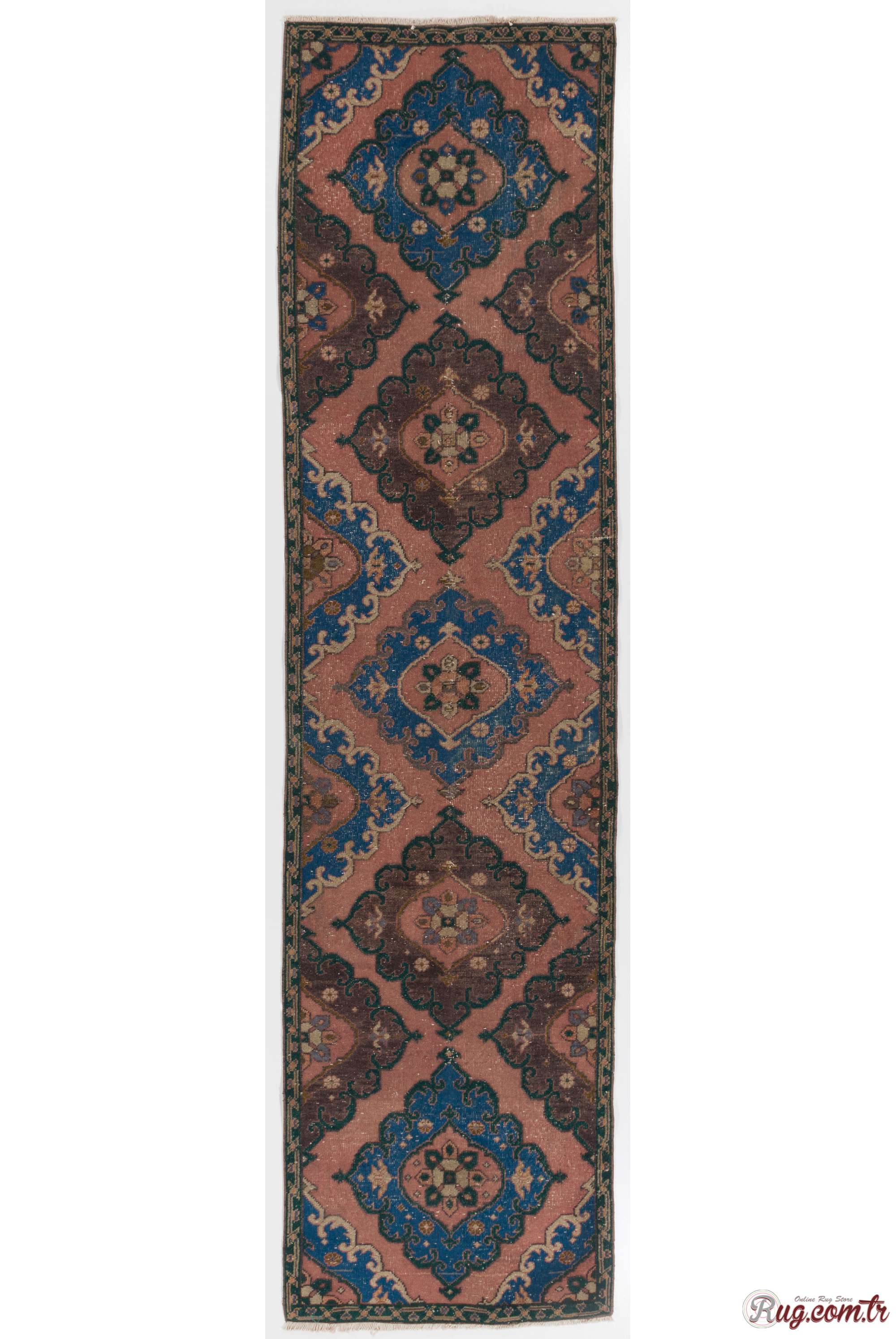 Runner Rug Peach Brown And Blue Color