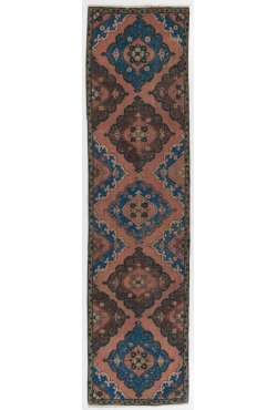 "Vintage Runner Rug, 3' x 11'10"" (92 x 363 cm) Peach, Brown and Blue Color Vintage Overdyed Runner Rug, Turkish Overdyed Runner Rug"