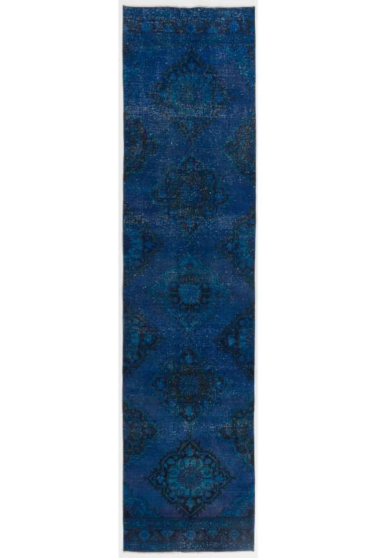 """Blue Runner Rug, 3' x 12'5"""" (92 x 380 cm) Blue Color Vintage Overdyed Handmade Turkish Runner Rug, Blue Overdyed Runner Rug"""