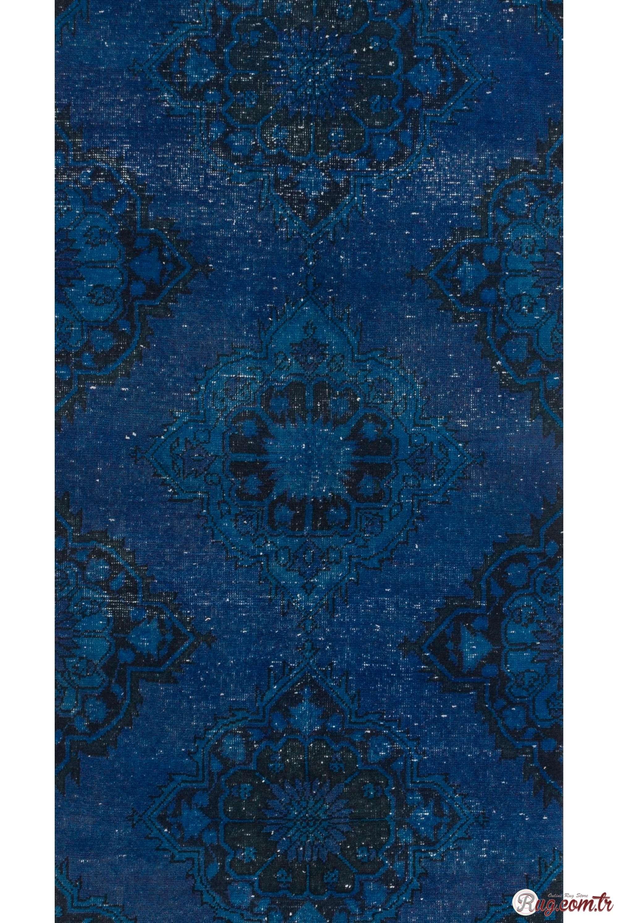 Blue Runner Rug Blue Color Vintage Overdyed Handmade