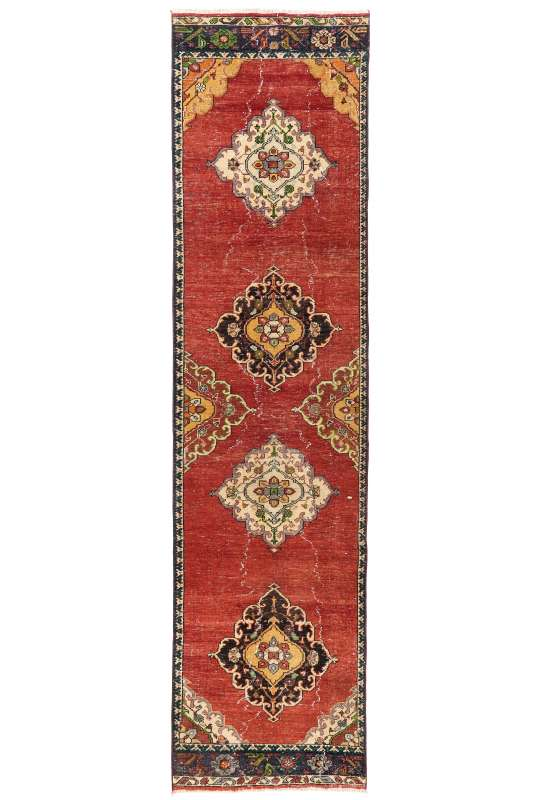 3' x 12' (95 x 366 cm) Sun Faded Runner Rug, Red, Yellow and Beige Color Vintage Turkish Runner Rug, Turkish Overdyed Runner Rug