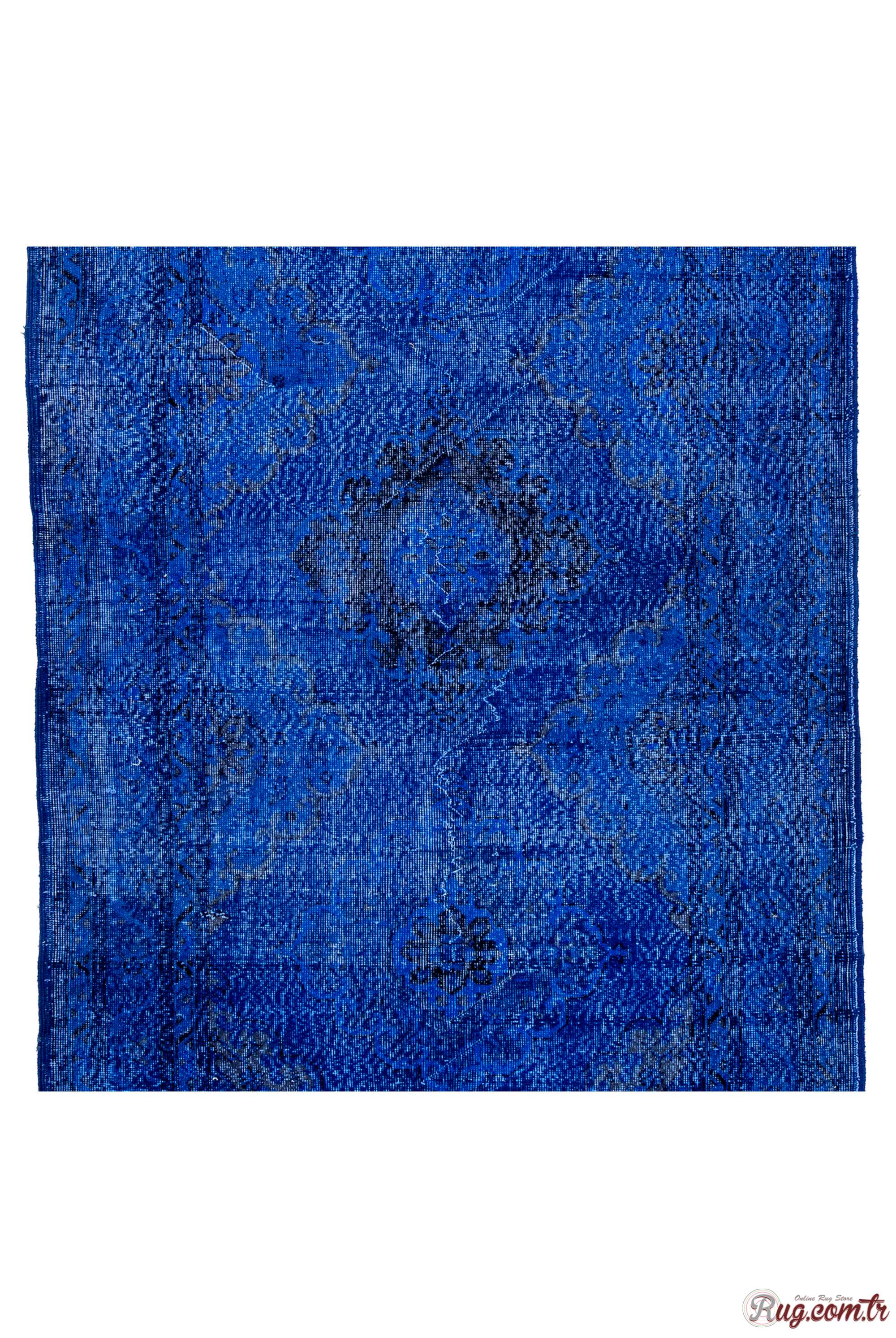 Sapphire Blue Runner Rug Turquoise Blue Color Vintage