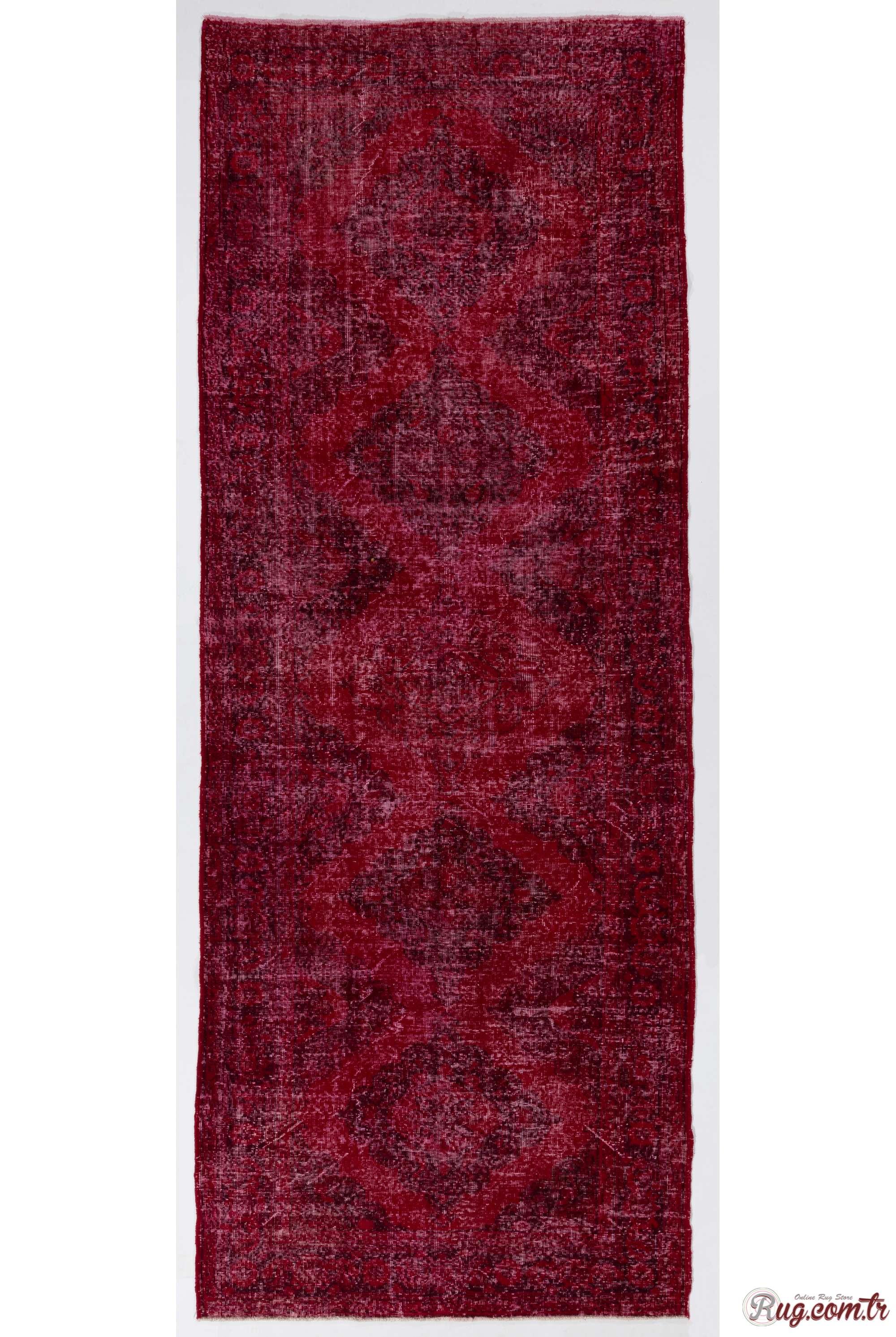 Red Runner Rug 4 9 X 12 7 147 386 Cm Color Vintage Overdyed Handmade Turkish