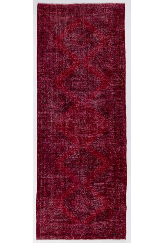 "Red Runner Rug, 4'9"" x 12'7"" (147 x 386 cm) Red Color Vintage Overdyed Handmade Turkish Runner Rug, Red Overdyed Runner Rug"