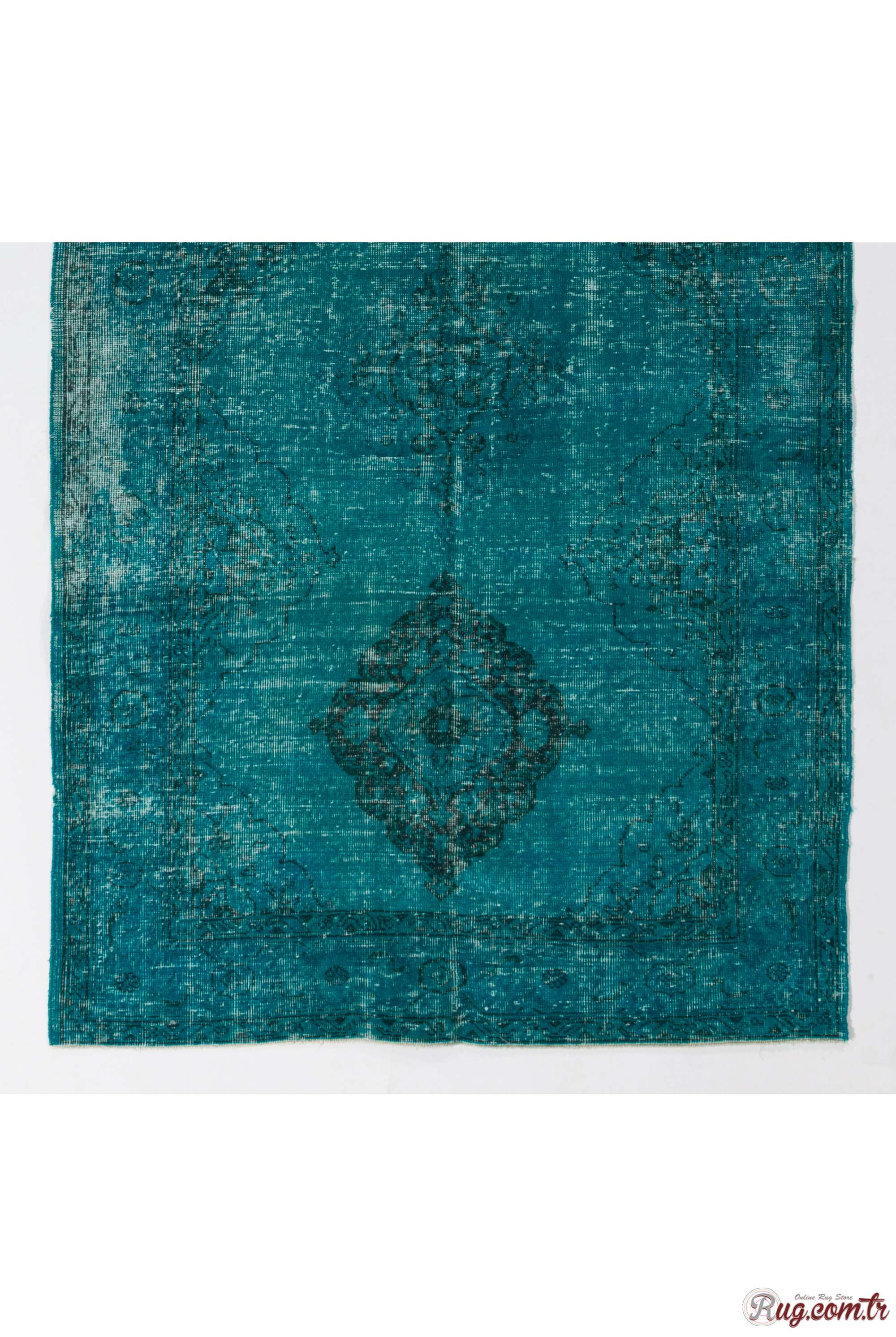 Turquoise Runner Rug Turquoise Blue Color Vintage Overdyed