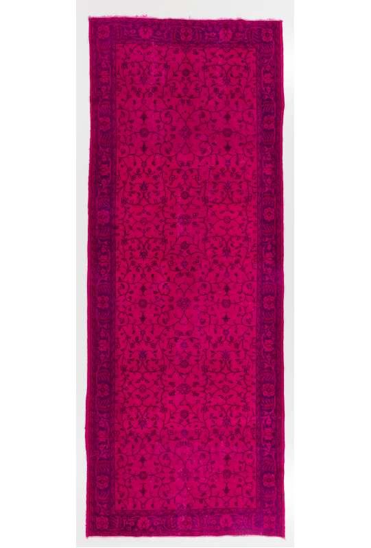 5' x 13' (150 x 396 cm) Pink and Lavender Color Vintage Overdyed Handmade Turkish Runner Rug, Pink Overdyed Runner Rug