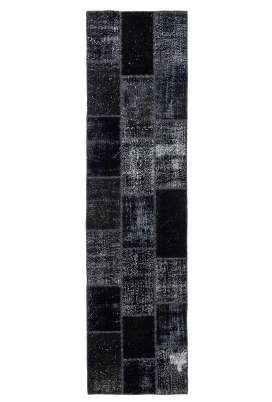 3' x 10' Black Patchwork Runner Rug